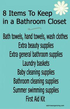 8 items to keep in a bathroom closet - bathroom organization tips - Bathroom Organization, Closet Organization, Organized Bathroom, Modern Bed Linen, Modern Bedding, Relaxing Bathroom, Handwashing Clothes, Keep On, Bathroom Closet