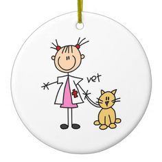 Veterinarian Stick Figure Christmas Tree Ornaments