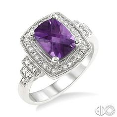 9x7MM Cushion Cut Amethyst and 1/10 Ctw Single Cut Diamond Ring in Sterling Silver