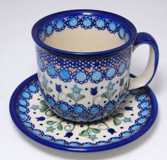Classic Boleslawiec Pottery Hand Painted Ceramic Tea / Coffe Cup & Saucer 0.3L Large 034-U-006: Amazon.co.uk: Kitchen & Home