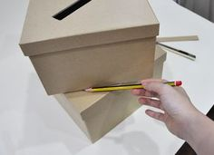"""Wedding Card box - basic instructions then decorate as you wish ...But with wedding colors and bunting saying """"C A R D S"""" and glitter?"""