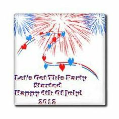 """2012 4th Of July Design with white background - 12 Inch Ceramic Tile by Edmond Hogge Jr. $22.99. Construction grade. Floor installation not recommended.. High gloss finish. Clean with mild detergent. Dimensions: 12"""" H x 12"""" W x 1/4"""" D. Image applied to the top surface. 2012 4th Of July Design with white background Tile is great for a backsplash, countertop or as an accent. This commercial quality construction grade tile has a high gloss finish. The image is applied to the top su..."""