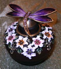 Purple Glass Bottles | Dragonfly and Flowers Purple Glass Enamel Pewter Perfume Bottle