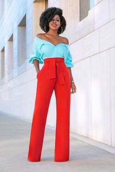Off Shoulder Color Block Jumpsuit (Style Pantry) Classy Outfits, Chic Outfits, Fashion Outfits, Fashion Tips, Fashion Trends, Trendy Outfits, Fashion Inspiration, Fashion Mode, Look Fashion