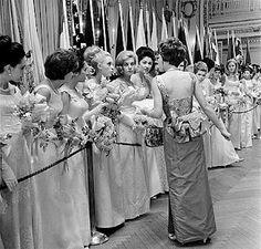 Dazzling southern belles in full debutante regalia.  Raise your hand if this brings back memories. Awe! The memories!