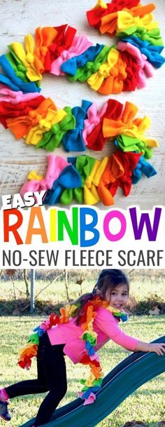 Little fashionistas will love this vibrant Rainbow Dash inspired no sew fleece scarf and you won't believe just how easy it is to make! Simple step-by-step photo tutorial included. #DIY #kidsfashion #rainbow #scarf via @https://www.pinterest.com/soccermomblog