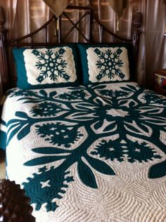 Vintage HAWAIIAN Green and White Queen Size Quilt and Shams. $650.00, via Etsy.