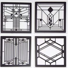 Hindostone Products-CoasterStone FWAS600 Frank Lloyd Wright Art Glass II Metal Insert Absorbent Coasters