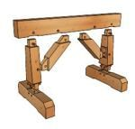 Timber Frame Sawhorse - free plans from Google 3D - sawhorse,timber framed,sketchup,Google 3D,3-D warehouse,heavy duty,drawings,free woodworking plans,projects,do it yourself,woodworkers