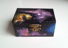 Galaxy nebula hand painted jewellery box by geeniejay on Etsy, $30.00