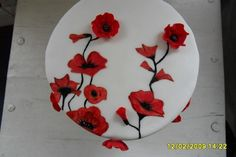 Birthday Cake - Hand painted Poppy cake with poppies Fondant Cakes, Cupcake Cakes, Cupcakes, Poppy Cake, Hand Painted Cakes, Cakes For Women, Cake Decorating Techniques, Cake Toppings, Red Poppies