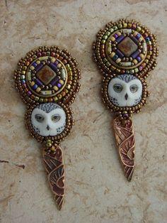 Snowy Owl earrings by HeidiKummliDesigns on Etsy