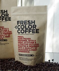 Genius-Designed and screen printed on kraft paper stand-up pPouches and gusseted bags filled with locally roasted coffee, with a message aimed at specific target audiences emphasizing on the skill set of typography, packaging and hands on creativity.