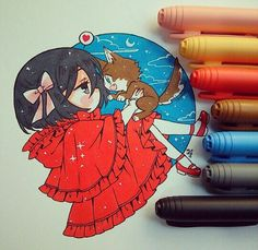 Mikasita roja y el lobo Eren A mikasa le queda el rojo, la amo ewe… Kawaii Anime, Kawaii Chibi, Kawaii Art, Copic Drawings, Kawaii Drawings, Cute Drawings, Art Anime, Anime Kunst, Manga Anime