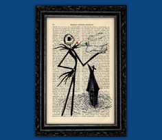 Jack Skellington and Ghost Dog Nightmare Before Christmas Print - Halloween Jack Poster Book Art Dorm Room Wall Decor Poster Art by ThePurpleHamster on Etsy https://www.etsy.com/listing/197178481/jack-skellington-and-ghost-dog-nightmare