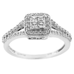 1/2 CT. T.W. Quad Princess-Cut Diamond Vintage-Style Frame Engagement Ring in 10K White Gold
