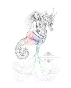 8x10 inch SIGNED Mermaid Riding Seahorse Colour Splash Rainbow Tail Art Print Pencil Drawing