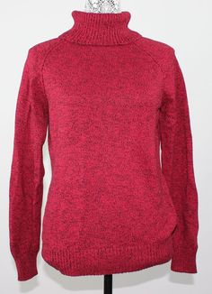 Karen Scott Womens Sweater Red Black Marbled Long-Sleeve Turtleneck 100% Cotton #KarenScott #TurtleneckMock Click Here for more: www.lazybreezdeals.com