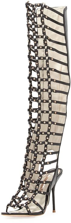 Black Leather Knee High Gladiator Sandals by Webster. Buy for $1,495 from Bergdorf Goodman
