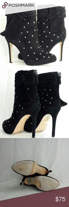 """Ann Taylor Studed Booties Ann Taylor is one if my favorite designers and she does not disappoint with these """"Adriana"""" studed ankle booties. The round crystals sparkle for a spectacular entrance. Jet black suede upper, 1"""" hidden platform, ruched band at top with a bow, round toe, back zipper at heel, leather padded footbed and leather sole. I cleaned the soles as per picture and there are no missing studes. Like New and comfortable and  absolutely stunning!! Orig retail $298. Ann Taylor Shoes…"""