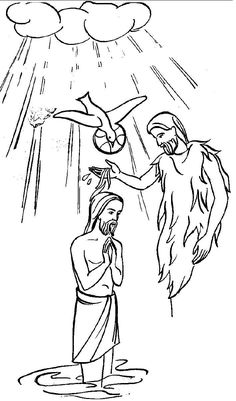 baptism of jesus coloring pages pictures to pin on pinterest