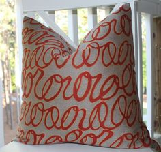 Decorative Modern Pillow Cover - 20x20 Scroll Writing Grey Red and Gold Pillow Cover- Throw Pillow. $48.00, via Etsy.