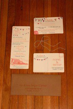 DIY Barn & Bunting Wedding Invitations with Kraft Envelopes ::Champagne and Mason Jars::