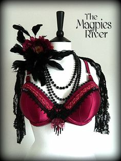 Rich Hot Fushia & Black Bra  Burlesque Tribal by TheMagpiesRiver, £41.00