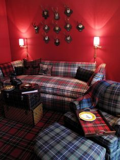 Masculine & cozy.  By using layers of tartan with hunting inspired accessories give a modern feel to an 18th century Scottish tradition.