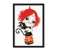 Ruby Gloom Cross Stitch Pattern Instant Download by tinymodernist