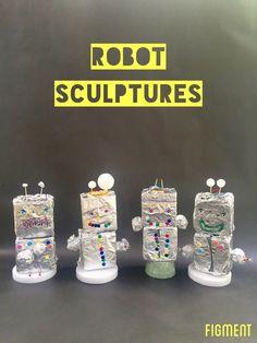 building robot sculptures at Figment Creative Labs, Austin TX, art class, Kid's art, sculpture,