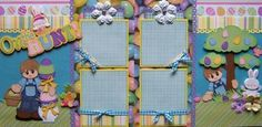 On The Hunt Easter Boy 1 2 Premade Scrapbook Pages Layout Paper Piecing | eBay