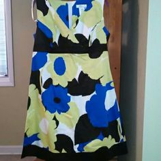 Floral dress Blue, black, green. V neck. Size 16 but was altered to fit more like a 14. dby ltd. Dresses