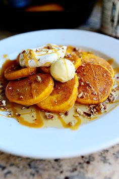Silver Dollar Pumpkin Pancakes. And maple whipped cream to top 'em off!