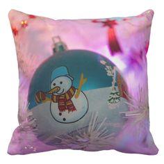 Snowman - christmas balls - merry christmas throw pillow #custom #christmas #pillow #homedecor #holiday