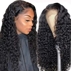 Ossilee Human Hair Lace Front Wigs 150% Density Brazilian Deep Wave Lace Front Wigs Wet and Wavy Deep Curly Human Hair Wigs Natural Color (20 Inch, 13x4 deep wave wig) Curly Lace Front Wigs, Human Hair Lace Wigs, Front Lace, Hair Front, Deep Wave Brazilian Hair, Kinky Straight Hair, Body Wave Hair, Wigs For Black Women, White Women