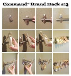 You love your shoes, now show them off! A towel rack and Command™ Metal Hooks easily mount and display.