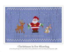 "Smocking with Gwen:  ""Austin's romper is smocked on Spechler-Vogel Imperial broadcloth insert, Children's Corner ""Jeffrey"" romper and Spechler-Vogel featherwale corduroy plaid. Santa also has blue pants."" Gwen Milner"