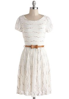 Dramatic Monologue Dress in White - Belted, Casual, A-line, Short Sleeves, Solid, Eyelet, Mid-length, White | Modcloth