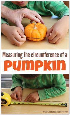 Measuring the circumference of a pumpkin is an easy fall math activity to do with kids. This post includes instructions for a simple measuring activity as well as several extension activities for kids with more advanced math skills. || Gift of Curiosity