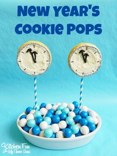 New Year's Cookie Pops - such a fun kids snack for New Years Eve.