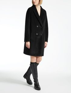 Max Mara FABIAN black: Alpaca and wool coat.