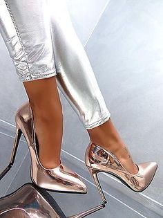 TOP Pumps Damenschuhe High Heels 2870 Beige Gold 37