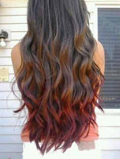 New hair red ombre purple dip dyed Ideas – Hair Ideas Ombré Hair, New Hair, Wavy Hair, Looks Style, Looks Cool, Red Dip Dye Hair, Hair Dye, Tip Dyed Hair, Brown Auburn Hair
