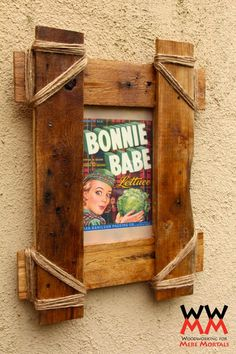 Rustic picture frame made from pallet wood.