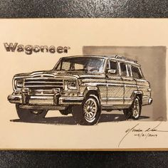 Sketch A Day, Pen Sketch, Doodle Sketch, Doodle Art, Jeep Wagoneer, Car Drawings, Jeep Grand, Jeep Life, Classic Trucks
