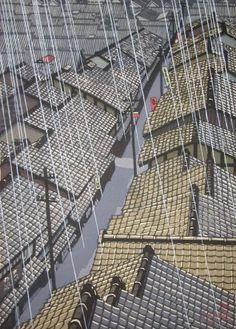 Ronin Gallery: Konishi, Seiichiro (1919 - ) Title:Evening Shower Medium:Woodblock Print Date:c. 1980