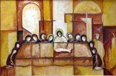 """Roudolf Kharatian The Last Supper 24"""" x 36"""", oil on canvas"""
