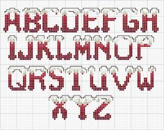 100%_ponto_cruz: Snow CROSS STITCH alphabet chart