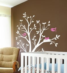 Tree with Birds and Nest Vinyl Wall Decal by SimspleShapes   NOT LIKE THIS - too small and skinny